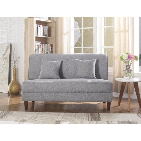 Leonel Signature 60 inch Button Tufted Loveseat with Pillows .
