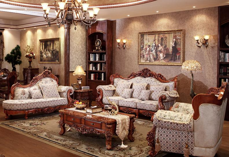 french style fabric sofa sets living room furniture,antique style .