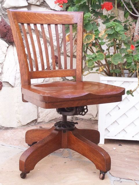 Antique Furniture | Vintage office chair, Antique dining chairs .
