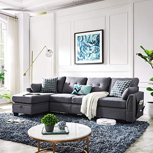Amazon.com: HONBAY Reversible Sectional Sofa Couch for Living Room .