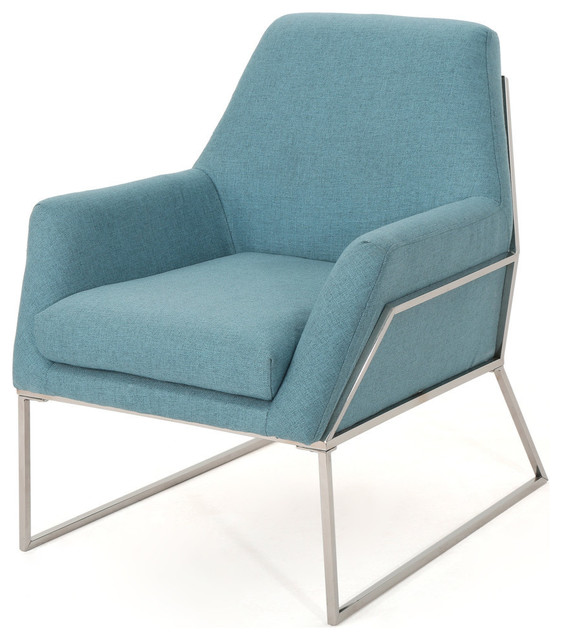 GDF Studio Zach Modern Fabric Armchair With Stainless Steel Frame .