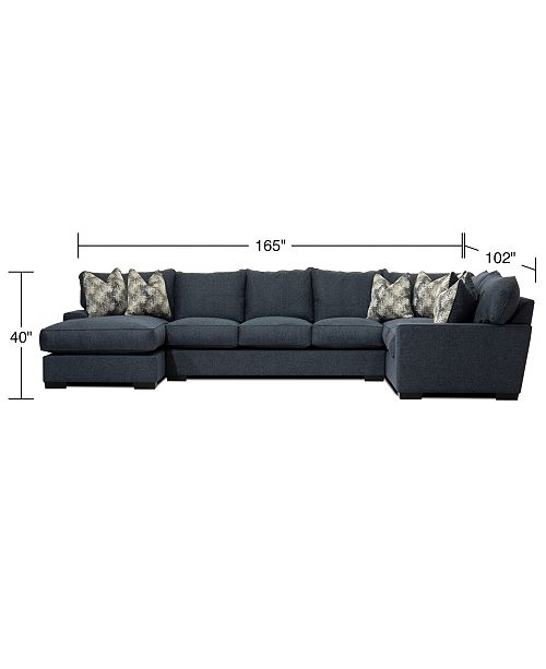 """Furniture Tuni 102"""" 3-Pc. Fabric Chaise Sectional Sofa with 3 ."""