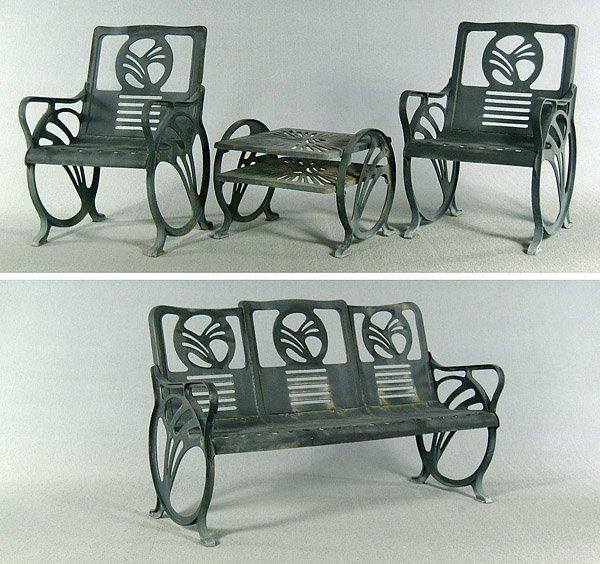Art deco cast-iron patio furniture by Jacobs Mfg. Co. (with .