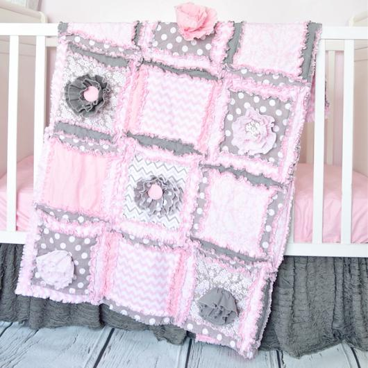 Ruffle Flower Baby Girl Crib Bedding - Baby Pink / Gray – A Vision .
