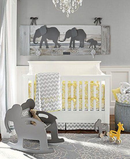 Elephant nursery decor. Unique wall art for a baby's room. Made of .