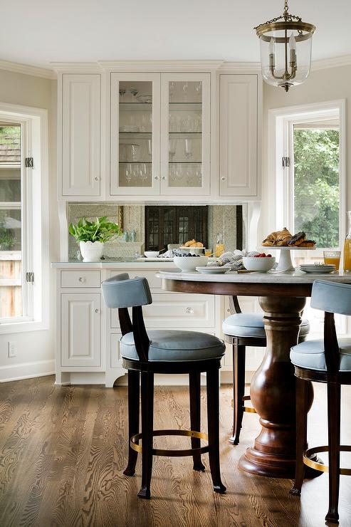 Blue Barstools at Round Marble Top Bar Height Table - Transitional .
