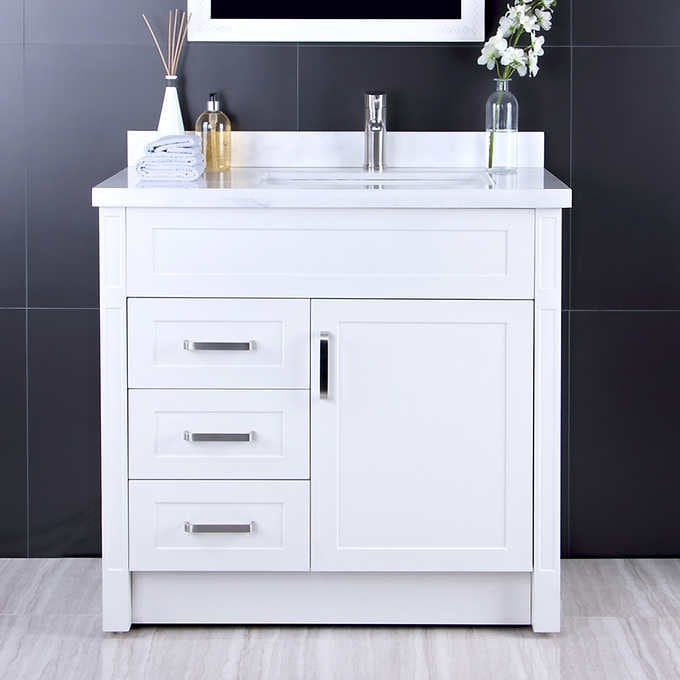 """AFA 36"""" Stainless Steel Bathroom Vanity With Fauc"""