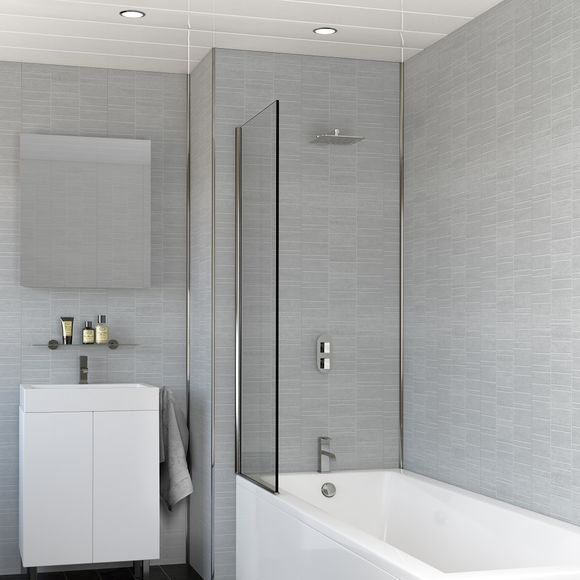 Smoked Grey Small Tile Effect Bathroom Wall Panels PACK OF 4 .