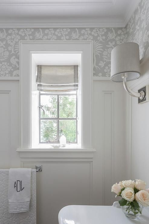 White and Silver Bathroom with Board and Batten | Small bathroom .