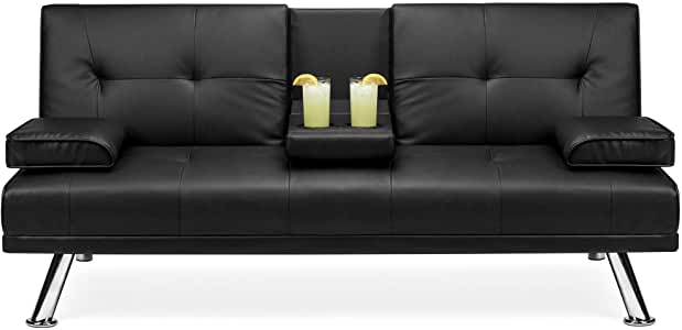 Amazon.com: Best Choice Products Faux Leather Modern Convertible .