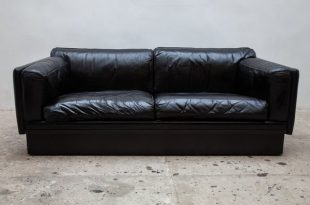Black Leather Couch from Durlet, 1970s for sale at Pamo