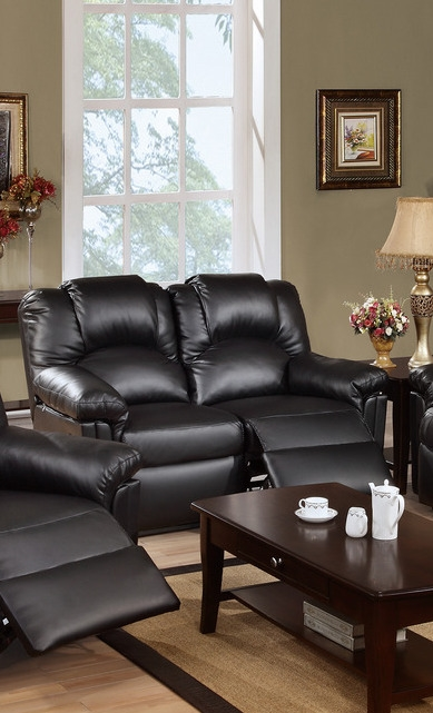 Palmer Black Leather Reclining Lovese