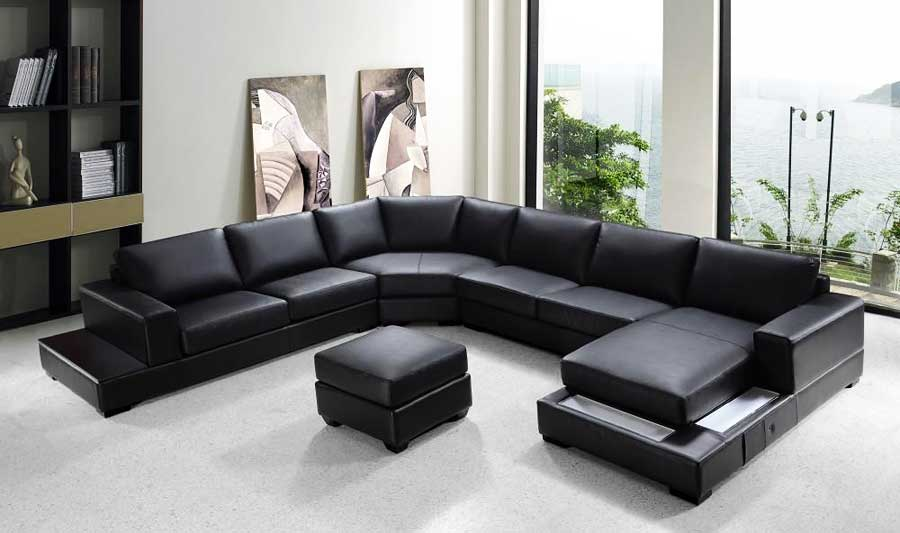 VG-RZ Modern Black Sectional Sofa   Leather Sectiona