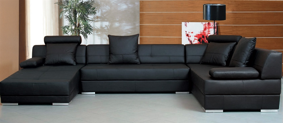 Black Leather Sectional Sofas
