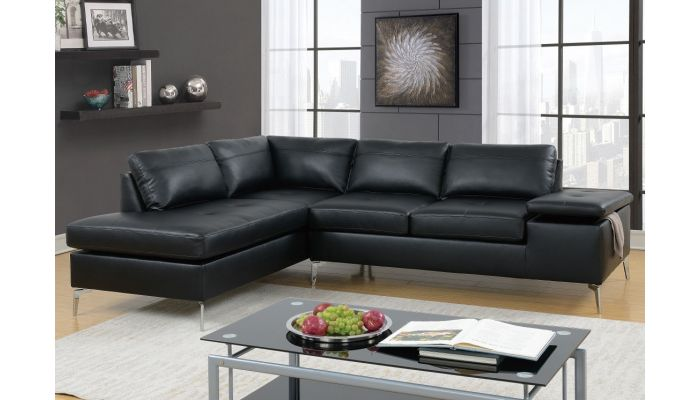 Amani Black Leather Sectional So