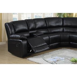 Esofastore Cadence Black Leather Match Sectional Sofa Chaise .