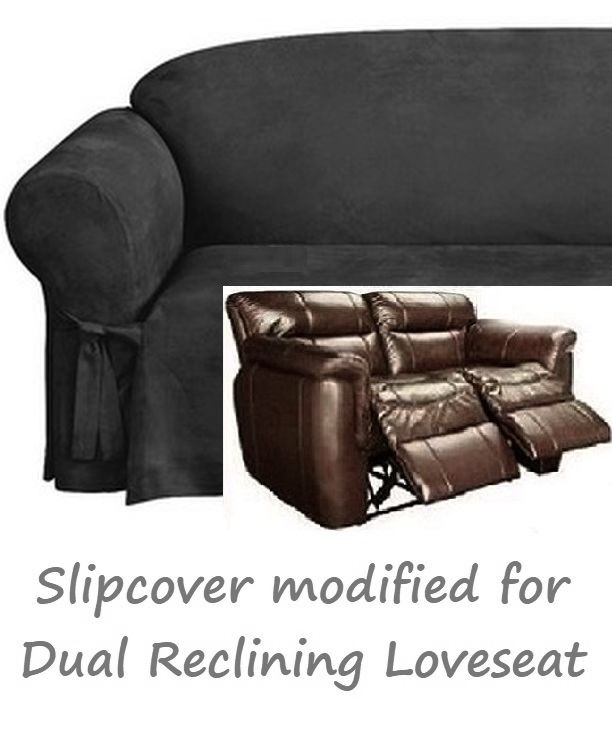Reclining LOVESEAT Slipcover Black Suede 2-Seater Dual Recliner Cov