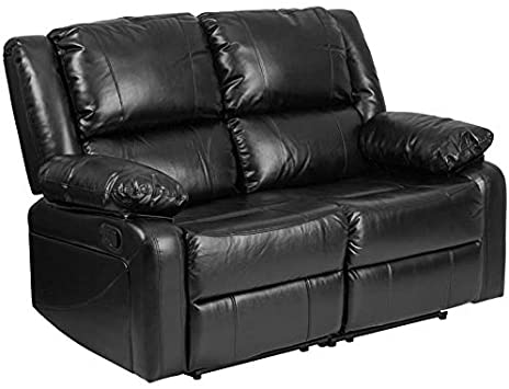 Amazon.com: Pemberly Row Leather Reclining Loveseat in Black .