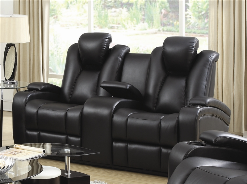 Element Power Recline Loveseat in Black Leather Upholstery by .