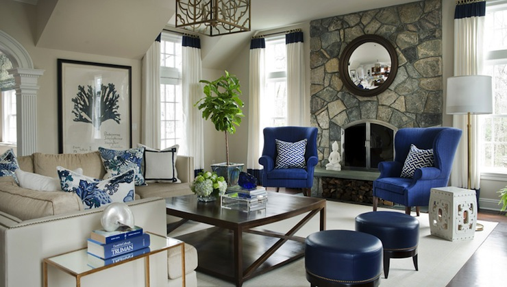 Blue Wingback Chairs - Transitional - living room - Morgan .