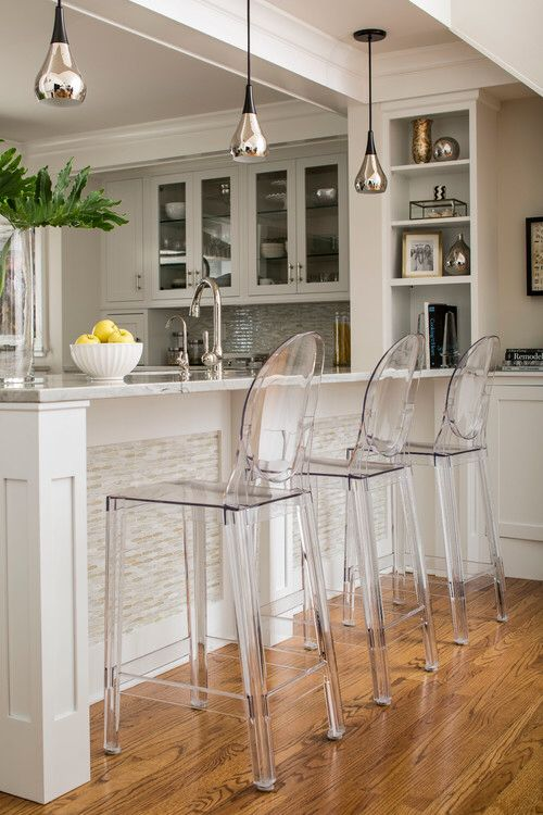 Ghost chairs … | Kitchen bar counter, Home bar accessories .