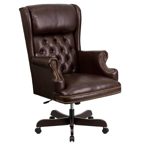 Executive Swivel Office Chair Brown Leather - Flash Furniture : Targ