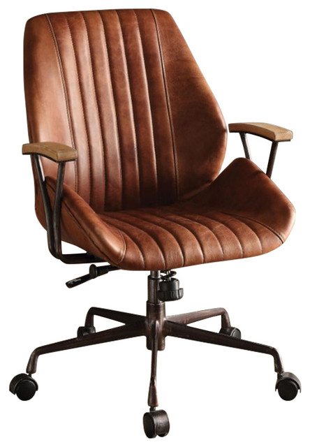 Metal & Leatherette Executive Office Chair, Cocoa Brown .