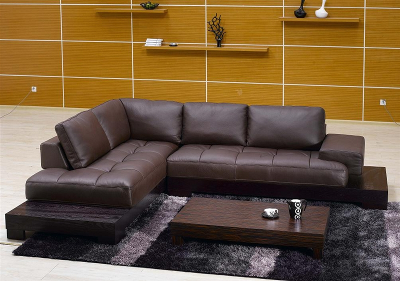 Modern Brown Leather Sectional Sofa TOS-FY633-2-