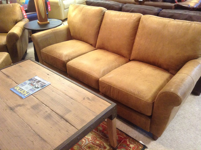 Town & Country VT – Light Brown Leather Sofa | Town and Count