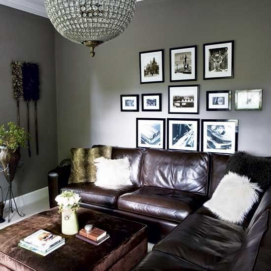 grey walls, brown leather couch!!! | Grey walls living room, Brown .