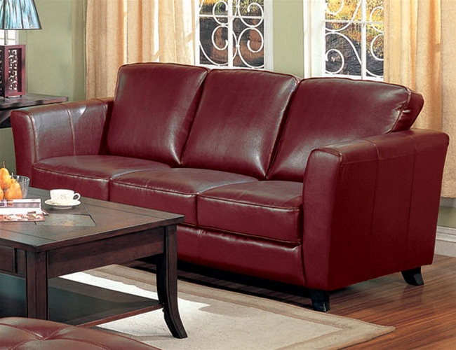 Brady Red Brown Leather Sofa by Coaster - 5012