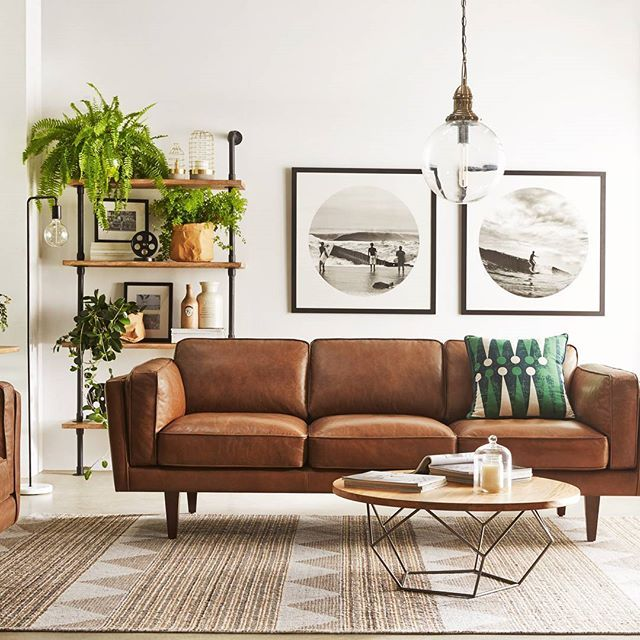 10 Beautiful Brown Leather Sofas | Mid century modern living room .