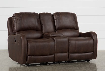 Davor Brown Power Reclining Loveseat With Console | Living Spac