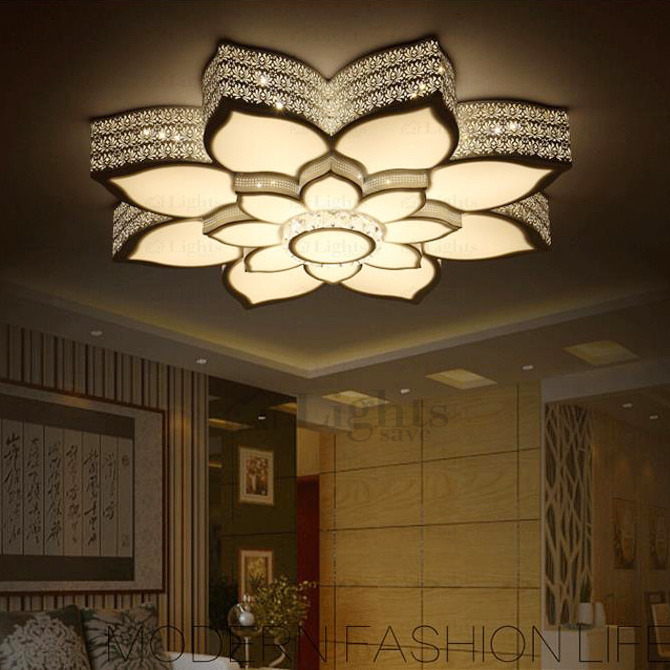 Simple Lotus Shaped Wrought Iron Ceiling Light Fixtures L