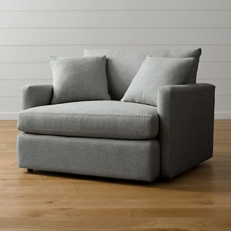 Lounge II Grey Chair and a Half + Reviews   Crate and Barr