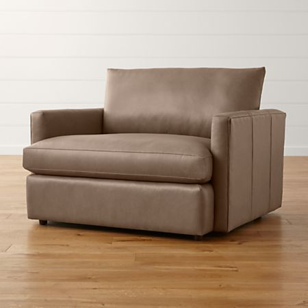 Lounge II Petite Brown Leather Chair and a Half + Reviews | Crate .