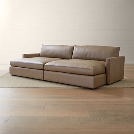 Lounge II Leather 2-Piece Double Chaise Sectional Sofa | Crate and .