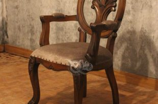 Classic Dining Table Design With Upholstered Armchairs Mahogany Wo