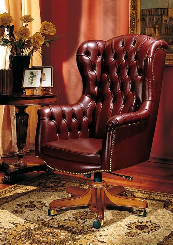 Office classic chair, in leather, with wheels   IDFdesi