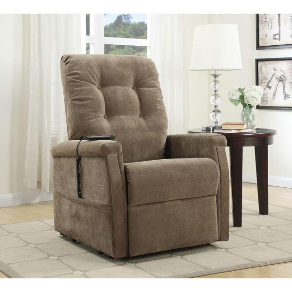 PRI Brown Fabric Power-Lift Recliner DS-1667-016-051 - The Home Dep