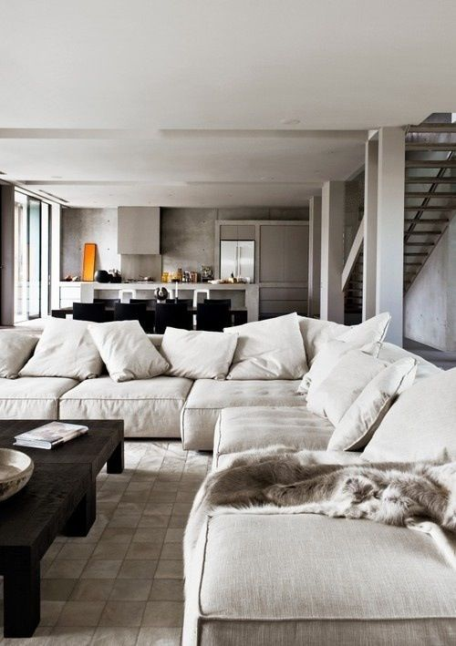 comfy linen sectional & chunky rustic coffee table, great for .