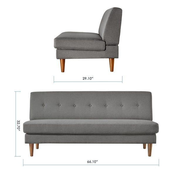 Shop METTE Modern Armless Loveseat / Sofa / Couch, Tufted Linen .