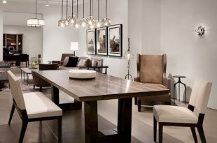 Contemporary dining room. Love the modern wood dining table, the .