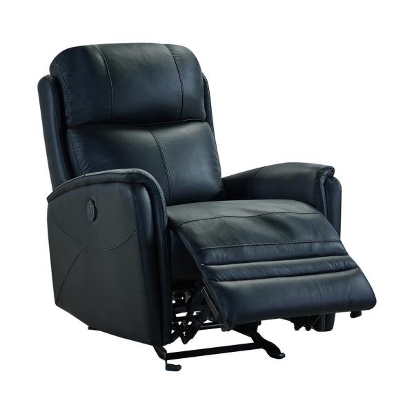 Armen Living Wolfe Black Genuine Leather Contemporary Recliner .