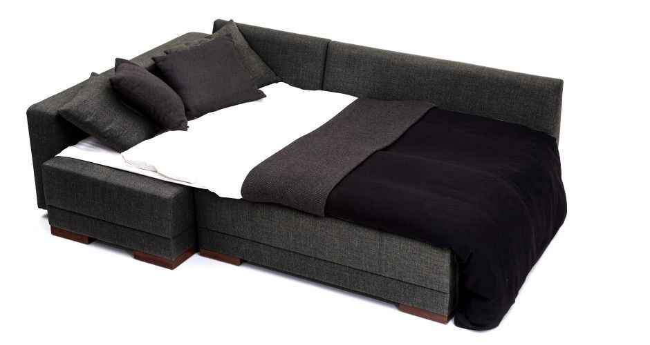 Corner Convertible Sofa Bed - Anthracite(Left) | Modern sofa bed .