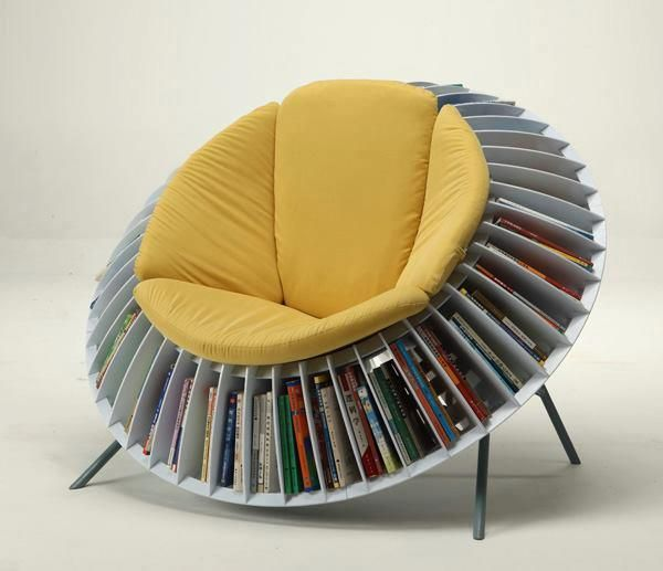 Sunflower Chair, An Ingenious Chair With Integrated Bookcase .