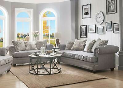 NEW Transitional Gray Fabric Living Room Oversized Sofa Couch .