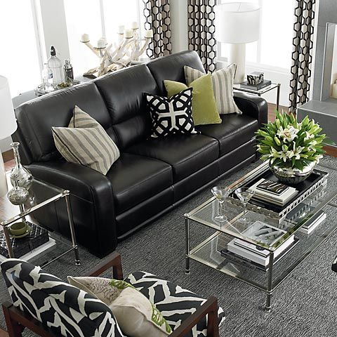 How To Decorate A Living Room With A Black Leather Sofa   Black .