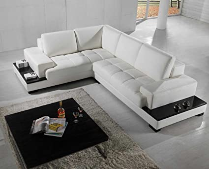 Amazon.com: VIG Furniture T71 Modern White Leather Sectional .