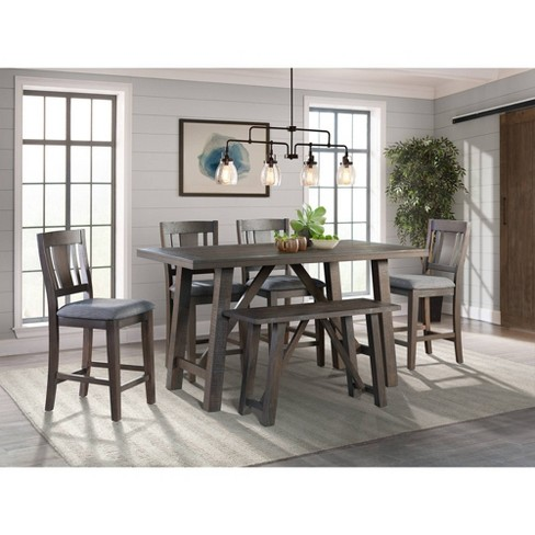 6pc Carter Counter Height Dining Set Table Graphite Gray - Picket .